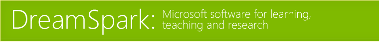 DreamSpark: Microsoft software for learning, teaching and research.